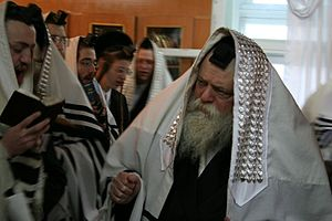 English: Toldos Avraham Yitzchok Rebbe during ...