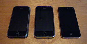 English: Left to right: iPhone, iPhone 3G, iPh...