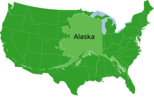 Alaska superimposed over the contiguous United...