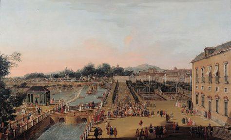Archivo:Fernando VI y Bárbara de Braganza en los jardines de Aranjuez (Battaglioli).jpg