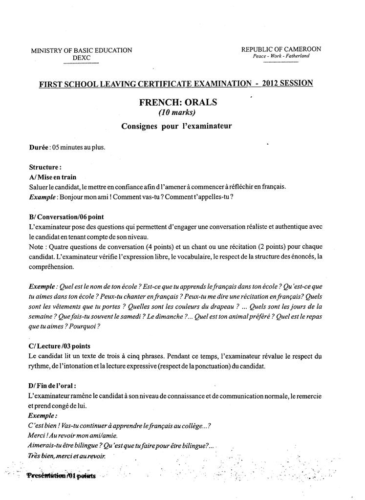 File First School Leaving Certificate Examination2012 Pdf