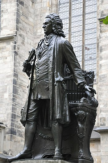 English: Statue of J.S. Bach close Thomaskirch...