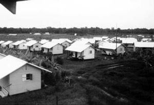 English: Houses in Jonestown, Guyana, 1979.