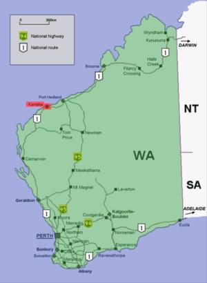 Karratha location map in Western Australia