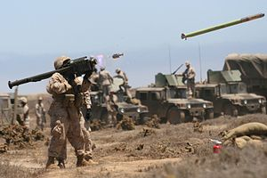 English: A Marine fires a FIM-92A Stinger miss...