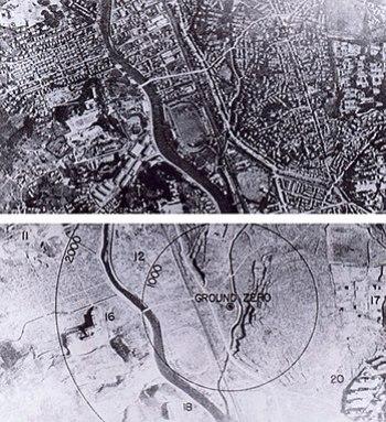 Nagasaki, Japan, before and after the atomic b...