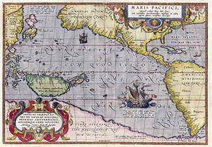 English: Maris Pacifici by Abraham Ortelius. T...
