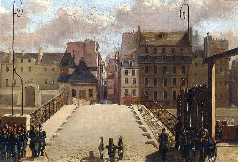 The bridge of the Archdiocese guarded by troops during the revolution of 1848 - Carnavalet Museum.