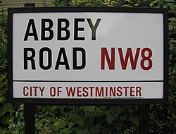 La plaque de la rue Abbey Road en 2006.