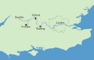 The course of the River Thames.