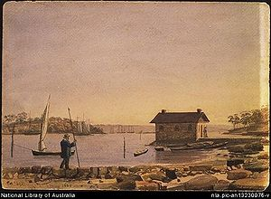 Woolloomooloo Bay in 1855 (watercolour)