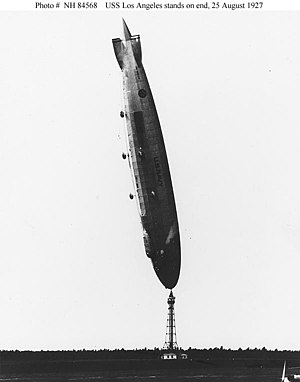 Airship USS Los Angeles (ZR-3) in a near-verti...