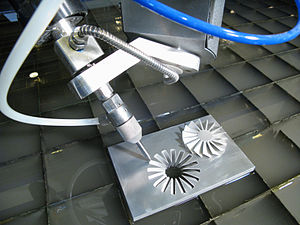 English: An example of a 5-Axis waterjet cutti...