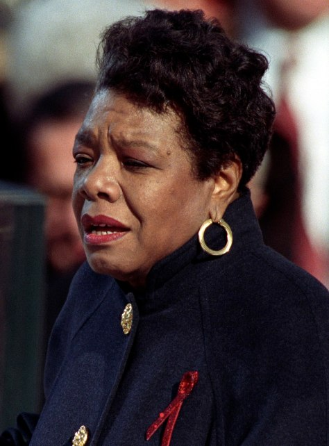 "Angelou reciting her poem ""On the Pulse of Morning"" at US President Bill Clinton's inauguration, January 20, 1993"