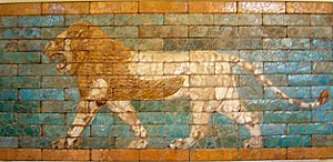 Passing lion, glazed terracotta, reign of Nebu...
