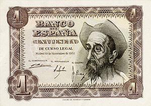 Billete de 1 peseta del Banco de España, 1951 ...