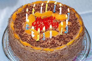 A decorated birthday cake