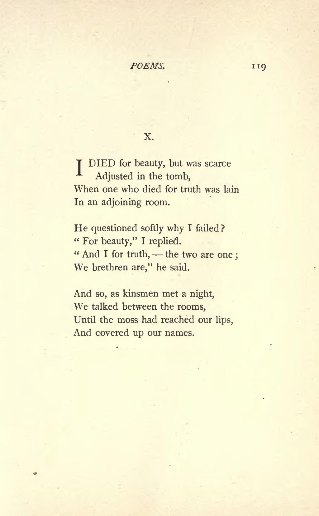 I Died For Beauty : beauty, Page:Emily, Dickinson, Poems, (1890).djvu/127, Wikisource,, Online, Library