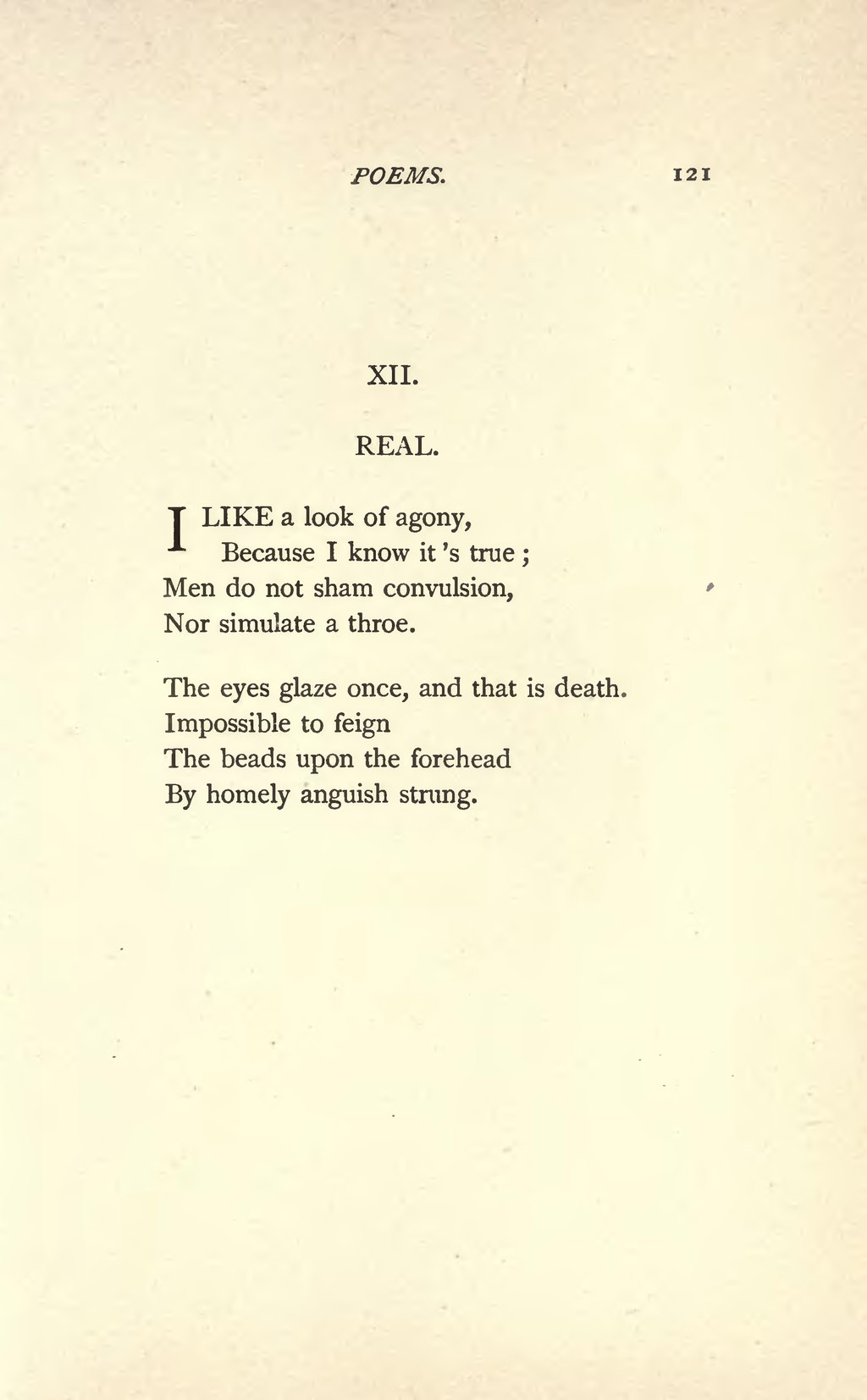 I Like A Look Of Agony : agony, Page:Emily, Dickinson, Poems, (1890).djvu/129, Wikisource,, Online, Library