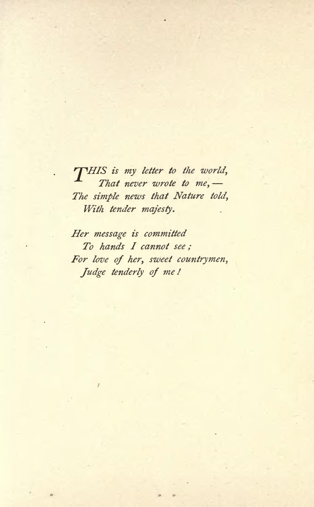 This Is My Letter To The World : letter, world, Page:Emily, Dickinson, Poems, (1890).djvu/17, Wikisource,, Online, Library