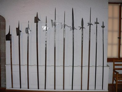 A series of pole mounted weapons called halberts