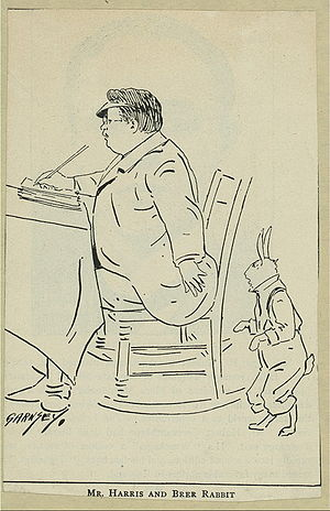Joel Chandler Harris and Br'er Rabbit cartoon.
