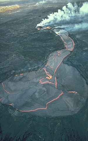 Aerial view of a lava lake atop the Kūpaʻianah...