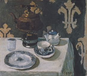 Paula Modersohn-Becker, Stillleben mit blauweißem Porzellan und Teekessel, 1900