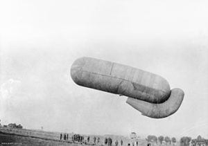 British observation balloon ascending on the m...