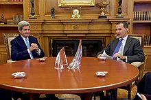 U.S. Secretary of State John Kerry and Felipe in the king's private office at Zarzuela Palace in Madrid on 19 October 2015
