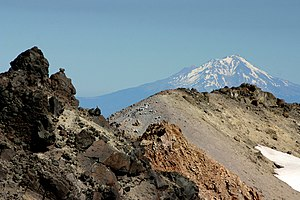 Mt. Shasta towering over Lassen Peak, even at ...