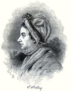 English: Engraving of Susanna Wesley, mother o...