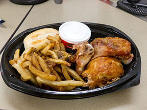 English: Take-out version of Swiss Chalet's Qu...