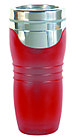 English: Image of a red travel mug with logo d...