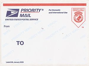 English: A blank Priority Mail Label 228, a po...