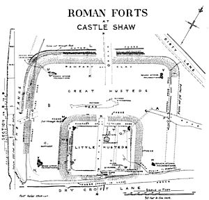 A plan of Castleshaw Roman fort drawn by antiq...