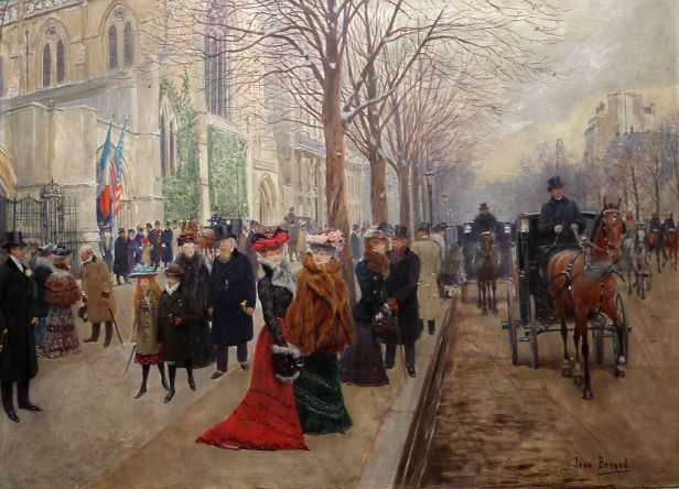 """After the Service at Holy Trinity Church, Christmas 1890"" by Jean Béraud"