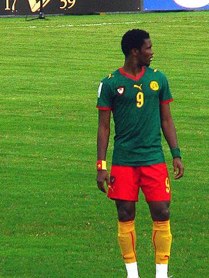 Eto playing for Cameroon