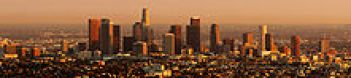 Panorama of downtown Los Angeles at sunset