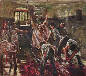 In the slaughterhouse, Lovis Corinth, 1893.