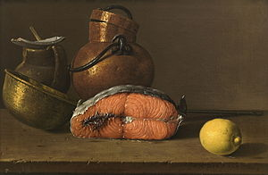 Still Life with Salmon,Lemon and three Vessels...