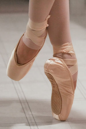 English: Modern pointe shoes. The edge of the ...