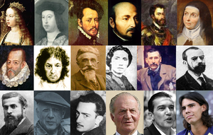 Collage of photos of 18 Spanish known figures ...
