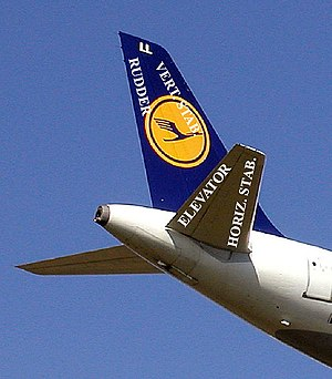 English: The tail of a Lufthansa Airbus A319 i...