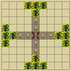 Tablut board and pieces in starting position