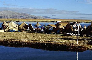 the Uros floating islands on Lake Titicaca, Puno