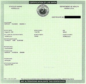 Scanned image of Barack Obama's Birth Certific...