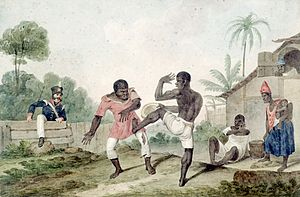 English: Negros fighting using Capoeira steps....