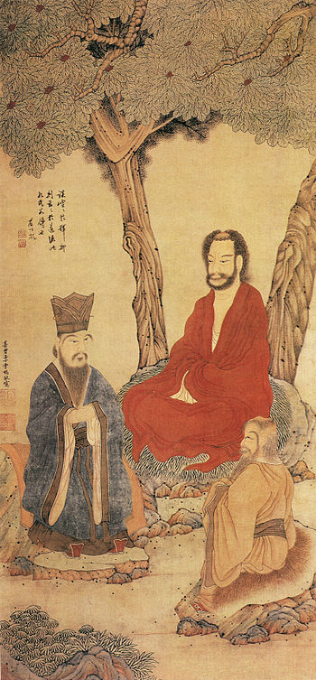 English: Confucius Lao-tzu and Buddhist Arhat ...