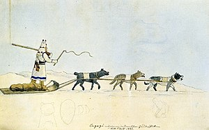 en: Dog sled near Fort Clark. Watercolor by Ma...